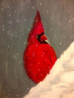 """Cardinal in Snow"" - Original Fine Art for Sale - ©Sonia Rumzi"