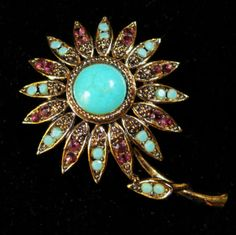Hollycraft Signed Brooch Vintage Turquoise Blue Cabochon and Rhinestone Pin   eBay