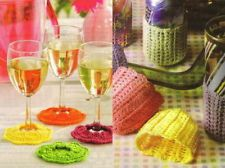 Crochet PATTERN - Set of 2 - Wine Goblet Footies & Glass Cozies. Is perfect to identify which is your cup when there are several ghests drinking.