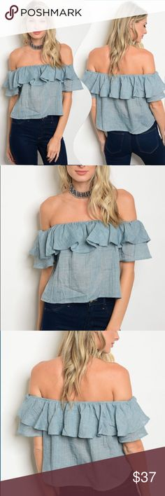 Heathered blue off shoulder ruffle cotton blouse Need that staple blouse in your closet for spring and summer? This is it, look no further! Great heathered bluecolor, off shoulder with a cute ruffle trim around the top! Great with jeans, skirts and shorts! Show off your glowing skin in this beauty.✅I ship same or next day ✅Bundle for discount Tops Blouses