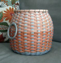 Items similar to Fun Sage Green and Tangerine Spoked Basket on Etsy Making Baskets, Blanket Basket, Great Housewarming Gifts, Weaving Projects, Basket Decoration, Storage Baskets, Basket Weaving, Old And New, Wicker
