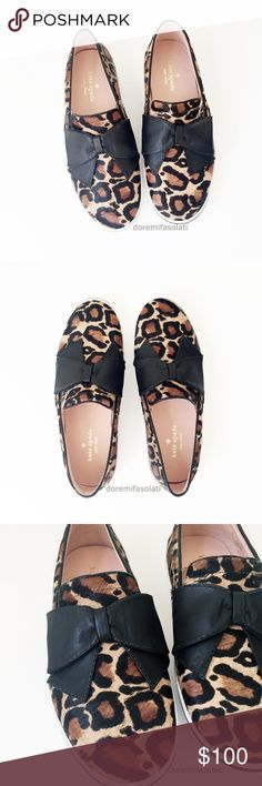 KATE SPADE leopard bow flats 7.5   * SOLD OUT  * KATE SPADE Delise  leopard print, genuine fur. leather bow.  $200, sold out.  condition: new, no box  slip ons slip on sneakers cheetah print athleisure yoga athletic no dust bag calf dyed elastic nonskid rubber soles shoes shoe flat sneaker athletic running kate spade Shoes
