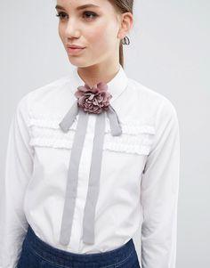 Imagen 1 de Corbata con detalle floral en gris y rosa de ASOS