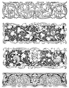Carved Botanical Borders Set of 4 Deep Etch Rubber Stamps Pattern Texture, Carving Designs, Wow Art, Decoupage Paper, Wall Art Sets, Coreldraw, Illuminated Manuscript, Hand Engraving, Islamic Art