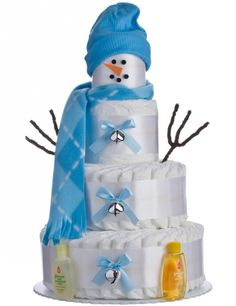 Holiday Snow Boy Diaper Cake by Lil' Baby Cakes Diy Diapers, Baby Shower Diapers, Baby Boy Shower, Baby Shower Gifts, Baby Showers, Funny Baby Gifts, Diy Baby Gifts, Funny Babies, Diaper Cupcakes