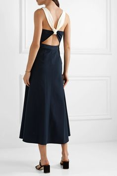 Navy and cream crepe Concealed zip fastening along side viscose, polyamide, elastane Dry clean Leigh Miller, Bardot Dress, Collection Services, Dress Outfits, Dresses, High Waisted Skirt, Menswear, Bridal, Celebrities