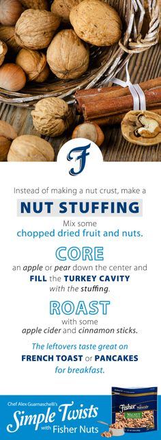 A Simple Tip with Fisher Nuts from Jones Guarnaschelli Stuffing Mix, Iron Chef, Alex Jones, Dried Fruit, Yummy Snacks, Cinnamon Sticks, Spice Things Up, Food Network Recipes, Food Hacks