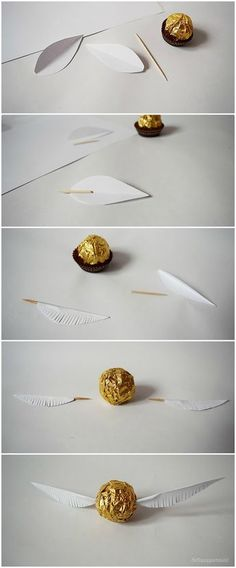 lottapeppermint: The Golden Snitch. A Harry Potter DIY made from Christmas chocolate.lottapeppermint: The Golden Snitch. A Harry Potter DIY made from Christmas chocolate.An adorable Dobby cardAn adorable Dobby card Baby Harry Potter, Baby Shower Harry Potter, Natal Do Harry Potter, Harry Potter Navidad, Harry Potter Motto Party, Harry Potter Fiesta, Harry Potter Weihnachten, Harry Potter Thema, Cumpleaños Harry Potter