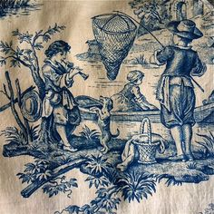 Antique Indigo and Natural French Toile Yardage by MausandFigge