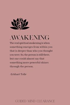Clear your mind for a spiritual awakening with Guided Mind Clearance advanced visualization therapy. Spiritual Awakening Quotes, Spiritual Life, Spiritual Growth, Spiritual Quotes Universe, Spirituality Quotes, Mindfulness Quotes, Mindfulness Meditation, Guided Meditation, Meditation Quotes