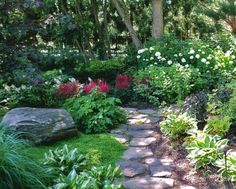 Shade Garden, moss, rock, hosta, astilbe...need this on a smaller scale for the side of my house.