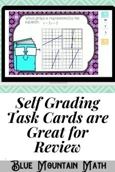Boom Cards™ are a great way for students to practice every day skills In this 20- card deck, students practice identifying the correct graph that matches the given linear equation.This set of Boom Cards features different Digital Self-Checking Task Cards. (No printing, cutting, laminating, or grading!)