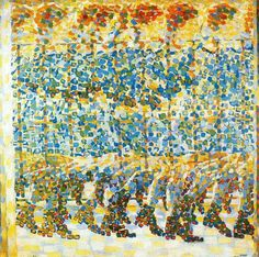 """Girl Running on a Balcony"" (1912) - Oil on Canvas - This painting draws from both Divisionism and Pointillism. Balla portrays movement by repeating the image of the girl.  This painting alludes to other styles but ultimately falls under Futurism as well due to the ideas of speed, from the movement, and chaos, the painting of the girl through many dots, being incorporated. https://en.wikipedia.org/wiki/Girl_Running_on_a_Balcony"