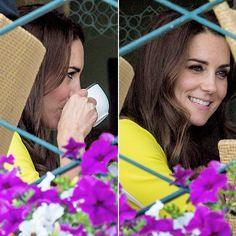 The Duchess of Cambridge watches on over the outdoor courts during the Wheelchair Singles matches on day ten of the Wimbledon Lawn Tennis Championships on July 7th, 2016.