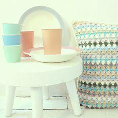 ByHaafner, crochet, cushion, granny stripes, pastel