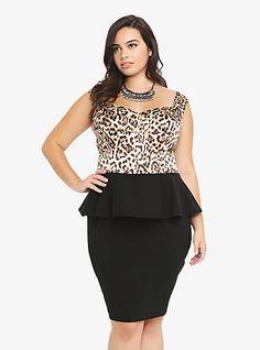 Leopard Print Peplum Dress | Torrid