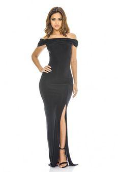 AX Paris Womens Black Off Shoulder Slinky Maxi Dress Stylish Ladies Fashion a27ffcaae
