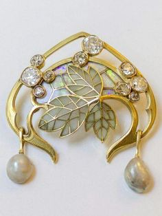 Art Nouveau gold,diamond,opal, pearl,enamel brooch by Georges Fouquet c.a. 1900.