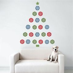 Wall Dressed Up - Christmas Tree Snowflake Dots Wall Decals (Repositionable)