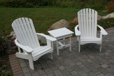 Standard Adirondack chairs and square side table finished in white solid stain