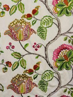 multicolor embroidered fabrics, multicolor designer fabrics, embroidered drapery fabrics