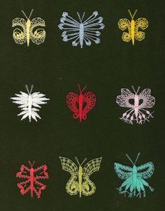 Motýli cm x 13 cm) Lace Making, Bobbin Lace, Loom Knitting, Needle Felting, Butterfly, Embroidery, Crochet, Crafts, Amigurumi
