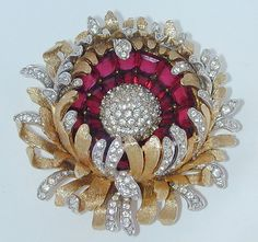 Boucher Red Rhinestone Flower Pin Brooch