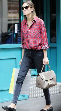 The best plaid street style--Alexa adds a ballet flat and cat eye glasses.