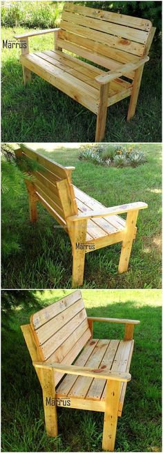 pallets wood made garden bench