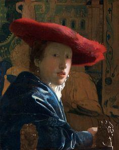 赤い帽子の女  【真作かどうか未確定】他の作品に比べて例外的にサイズが小さく、カンヴァスでなく板に描かれていることから、フェルメールの真作であるかどうか疑問視する意見もある。