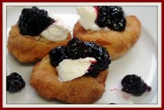 """Papanasi (pronounced """"papanash"""") are traditional Romanian cheese sweets. I grew up in a Romanian Jewish family. Sicilian Recipes, Jewish Recipes, Turkish Recipes, Sour Cherry Jam, Just Desserts, Dessert Recipes, Romanian Food, Romanian Recipes, Yummy Treats"""
