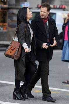 "Jonny Lee Miller & Lucy Liu. First look at the filming of the CBS pilot for ""Elementary"""