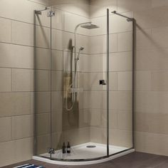 Cooke & Lewis Luxuriant Offset Quadrant Shower Enclosure with Hinged Door (W)1170mm (D)870mm | Departments | DIY at B&Q