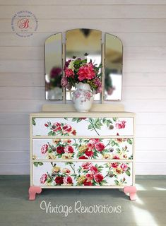 Beautiful vintage Dressing Table - This is a very pretty dressing table painted with Annie Sloan Old Ochre. The three drawers are covered with beautiful roses In various shades of pink and finished with crystal style knobs. Dimensions Height 155cms. Width 89cms. Depth 42cms awesome bedroom decor with decoupage drawers. affiliate link for etsy