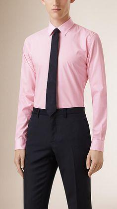 City pink Slim Fit Pinstripe Cotton Shirt - Image 1 Formal Shirts For Men, Cashmere Scarf, Adobe Photoshop, Mens Suits, Luxury Branding, Dapper, Slim, Shirt Dress, City