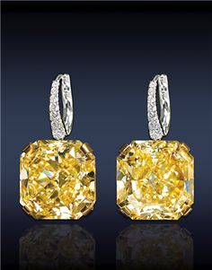 Jacob & Co. - Fine Jewelry - Riviera Collection - Fancy Intense Yellow Drop Diamond Earrings, Composed Of Two GIA Certified - Ct. Internally Flawless, Fancy Intense Yellow Radiant Cut Diamonds With Pave' Set White Diamonds On Bail, Mounted In Diamond Drop Earrings, Diamond Studs, Infinity Earrings, Hoop Earrings, Sapphire Earrings, Gemstone Jewelry, Diamond Jewelry, Rhinestone Jewelry, Diamond Bracelets
