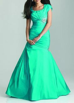 Modest Taffeta Mermaid Scoop Neckline Empire Waist Ruched Floor Length Prom Gown With Beadings
