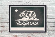 California Flag Print California Poster Flag Art by PixelPerfect12