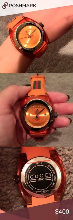 💯authentic Gucci sports watch This is one of my favorite Gucci watch. Purchased this item last year. Minor undetected scratches and a small pen ink dot that can be removed. It comes with authentic box. Orange is such a beautiful color and people have complimented me on this watch. I only take reasonable offers only. Gucci Accessories Watches