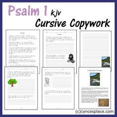 Psalm 1 copywork in cursive - Great pic! Have a look at this Cursive Handwriting post. http://www.tpt-fonts4teachers.blogspot.com/2013/02/cursive-style-fonts-family.html