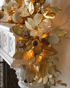 Gold Christmas Garland With Lights