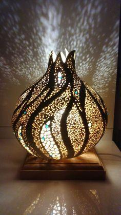 Originale lampe de table fimo Glowing verre électrique lumière DEL Hiver Ville