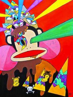 "3rd Prize - Adult Division - ""Pnut Butter Eyesocream Beam"" Submitted by: Annie Liu Medium: acrylic, sharpie, gel pen/pen Favorite artist: Jon Burgerman Favorite band: Definitely between rubberbands and headbands"