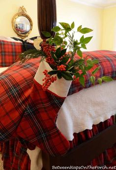 To keep the greenery fresh for a few days, wraps the stems in soaking-wet paper towels and tuck them down into a plastic bag inside the stocking. Tartan Christmas, Country Christmas, Winter Christmas, All Things Christmas, Christmas Home, 1980s Christmas, Christmas Ideas, Christmas Mantles, Merry Christmas