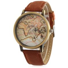Faux Leather Map Quartz Watch (7.88 CAD) ❤ liked on Polyvore featuring jewelry, watches, quartz wrist watch, quartz watches, vegan jewelry, quartz jewelry and vegan watches