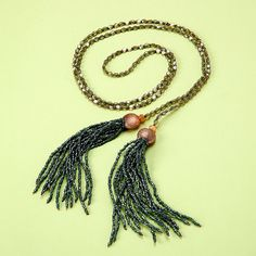Long Beaded Lariat with Czech Crystals Brass Beads by katandbear, $48.00
