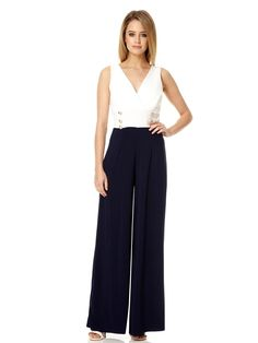 429f0801c04eb0 Navy Contrast V Neck Palazzo Jumpsuit