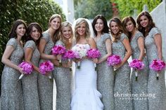 Want these bridesmaid dresses but knee length and with pink sashes