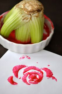 A neat way to use up the end of celery - Reading Confetti: 12 Spring Flower Crafts: Kids Co-op.