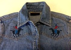 Vintage Wrangler Girls Blue Jean Western Cowboy Cowgirl Lasso Rodeo Shirt Medium #Wrangler #Everyday